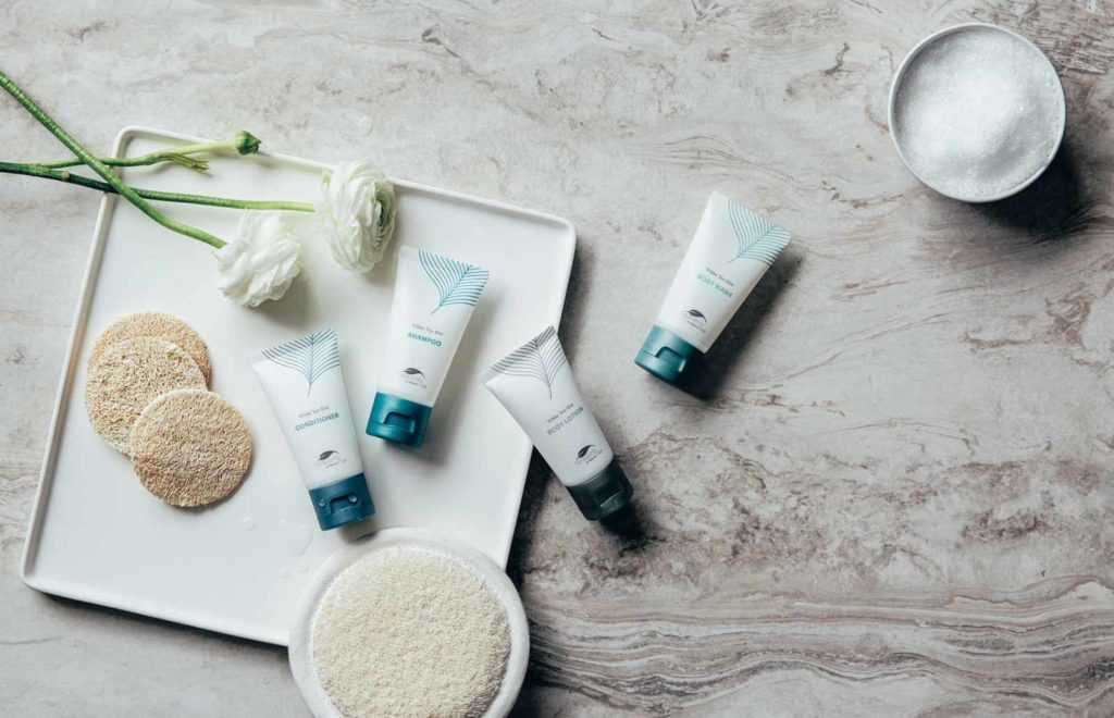 an array of westin spa lotion products and exfoliants