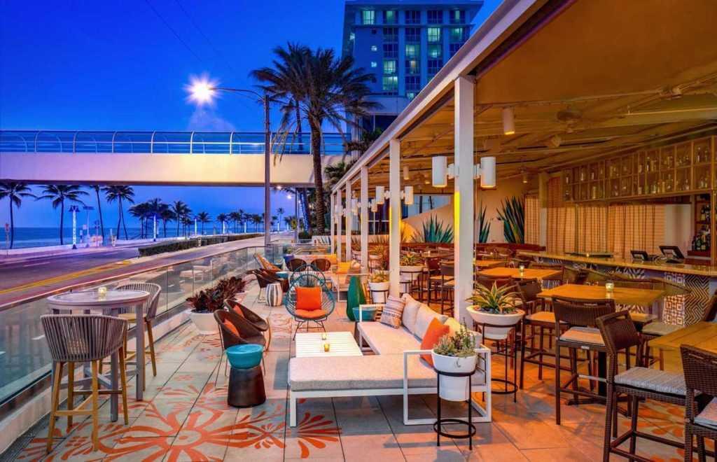 outdoor dining restaurant at dusk