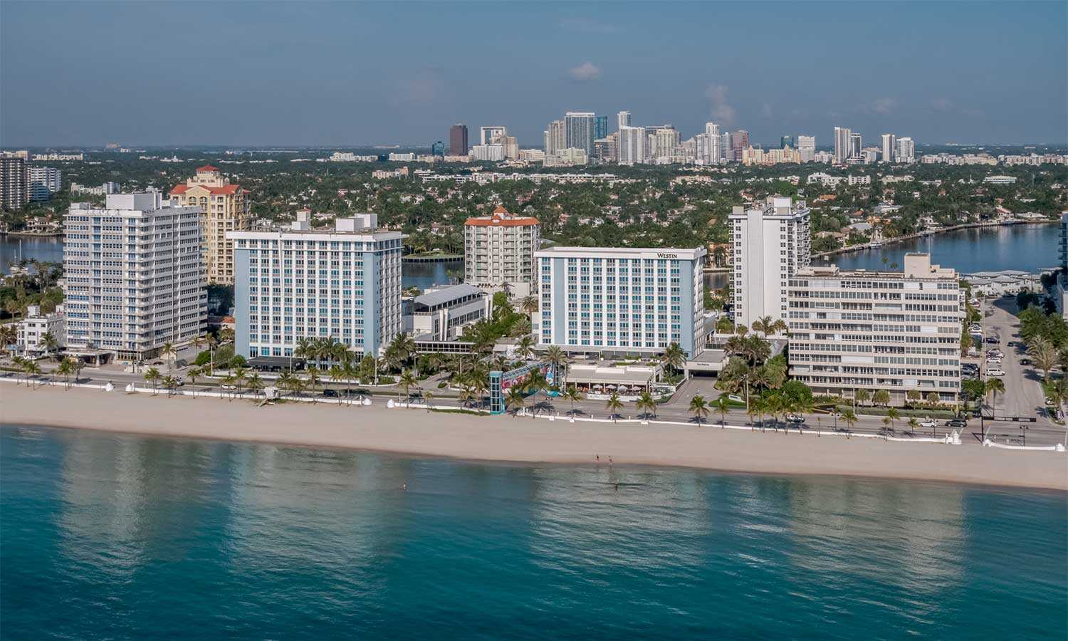aerial shot of the westin fort lauderdale resort exterior